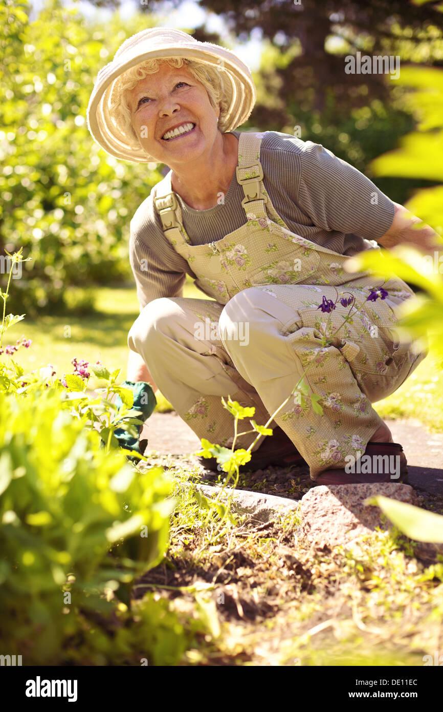 Ältere Frau glücklich, arbeiten mit Pflanzen in ihrem Garten - alte Frau im Garten im Hinterhof Stockbild