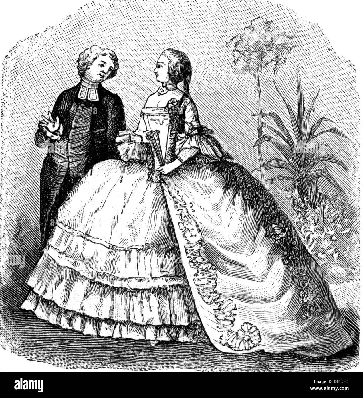 mode,18. jahrhundert,frau im ballkleid,nach dem malen von