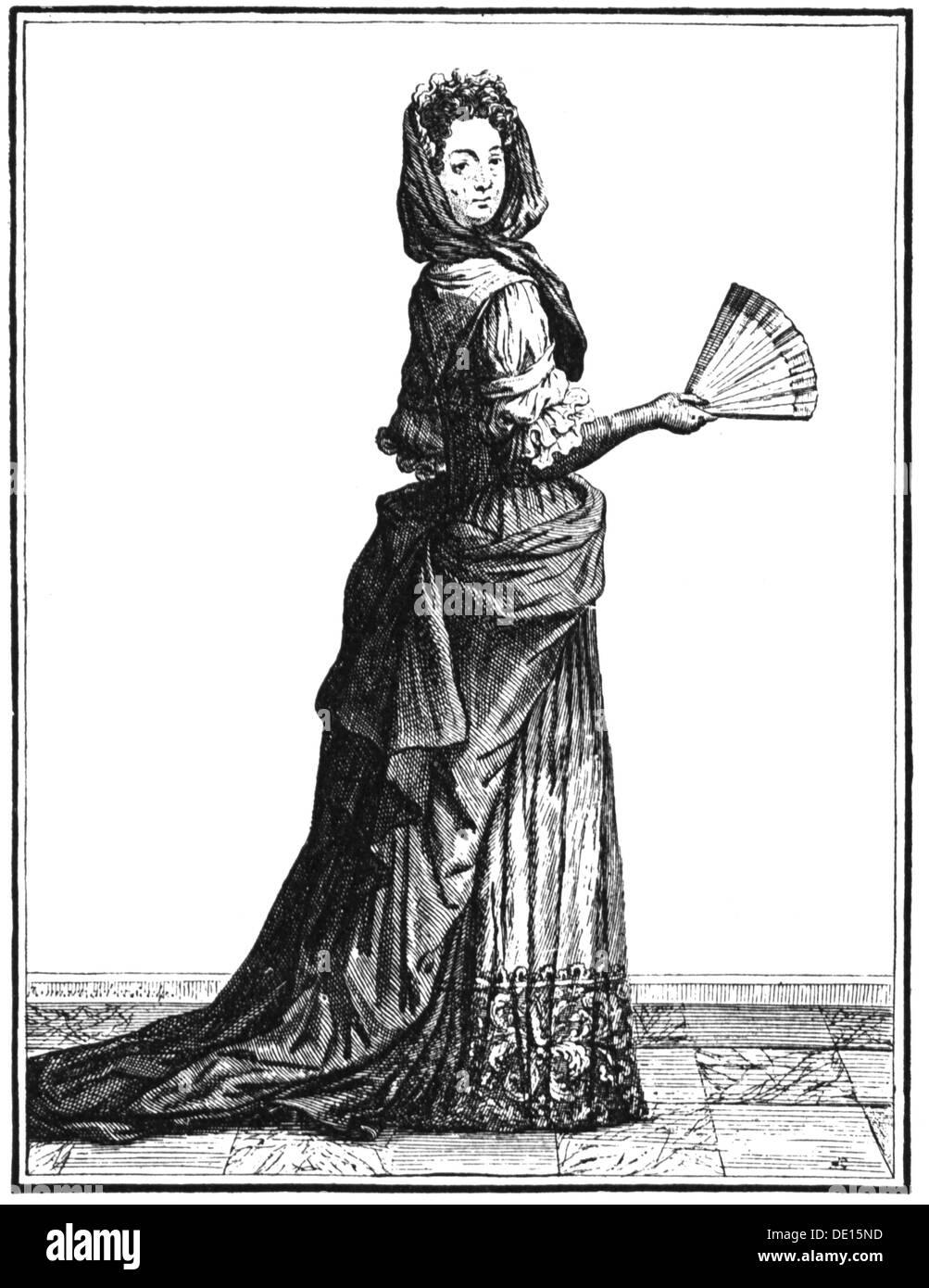 17 Jahrhundert Bild Architektur: Mode 17. Jahrhundert Dame Der Barockzeit Kupfer Gravur 17