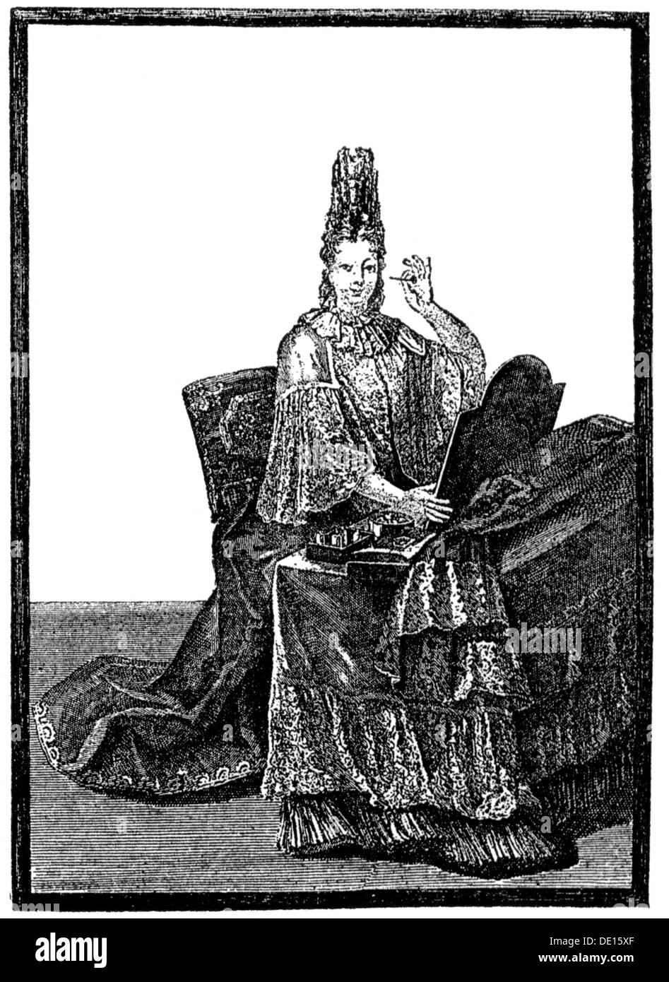 17 Jahrhundert Bild Architektur: Mode, 17. Jahrhundert, Hofdame Am Morgen Wc, Kupferstich