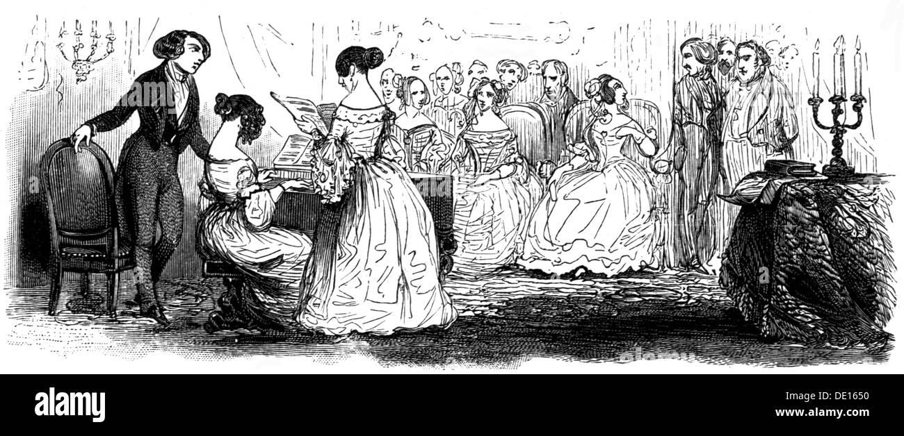 Musik, Konzert, soiree in Paris, Holzstich nach Pauquet, circa 1840, Additional-Rights - Clearences-NA Stockbild