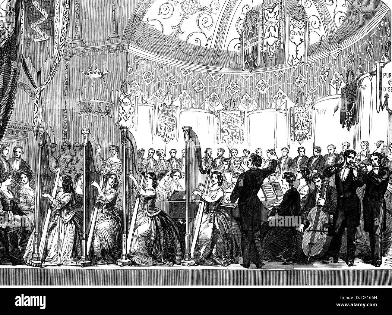 """Musik, Konzert, amateur Konzert für den Fonds der Krankenstation von Newcastle-upon-Tyne, Holzstich, """"Illustrated London News"""", 1853, Additional-Rights - Clearences-NA Stockbild"""