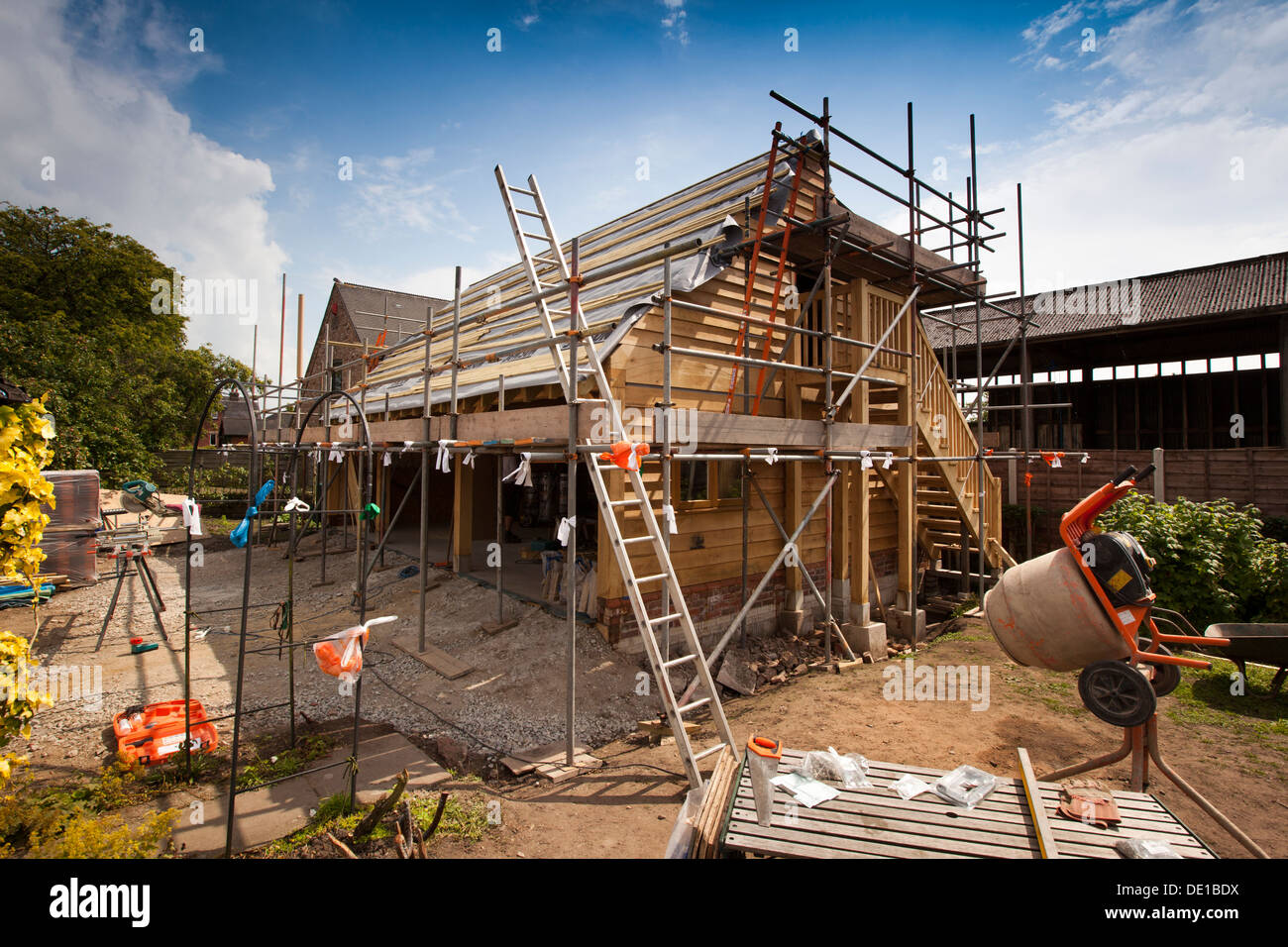 Selbst Hausbau Gerahmt Bau Grune Eiche Holz Garage Externe Gerust