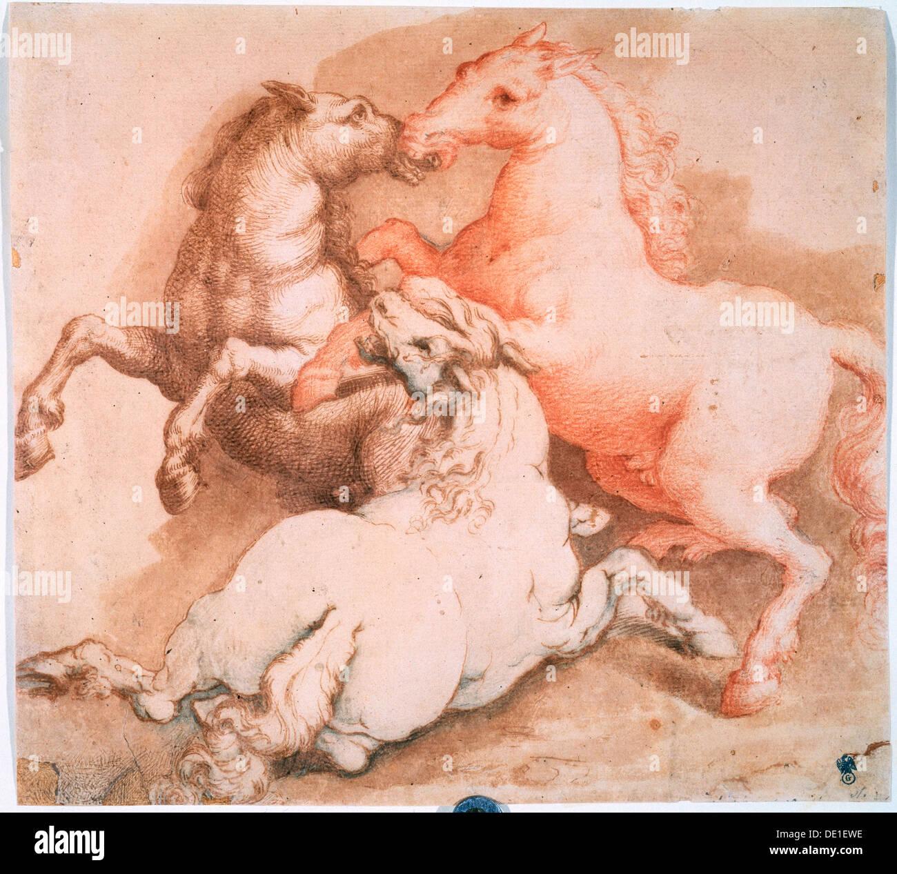 """""""Pferde kämpfen"""", c1550-1600. Künstler: Unbekannter Altmeister Stockbild"""