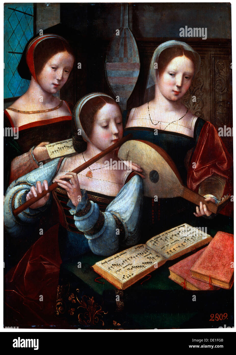 """Musiker"", 1530 s-1540 s. Künstler: Unbekannter Altmeister Stockbild"