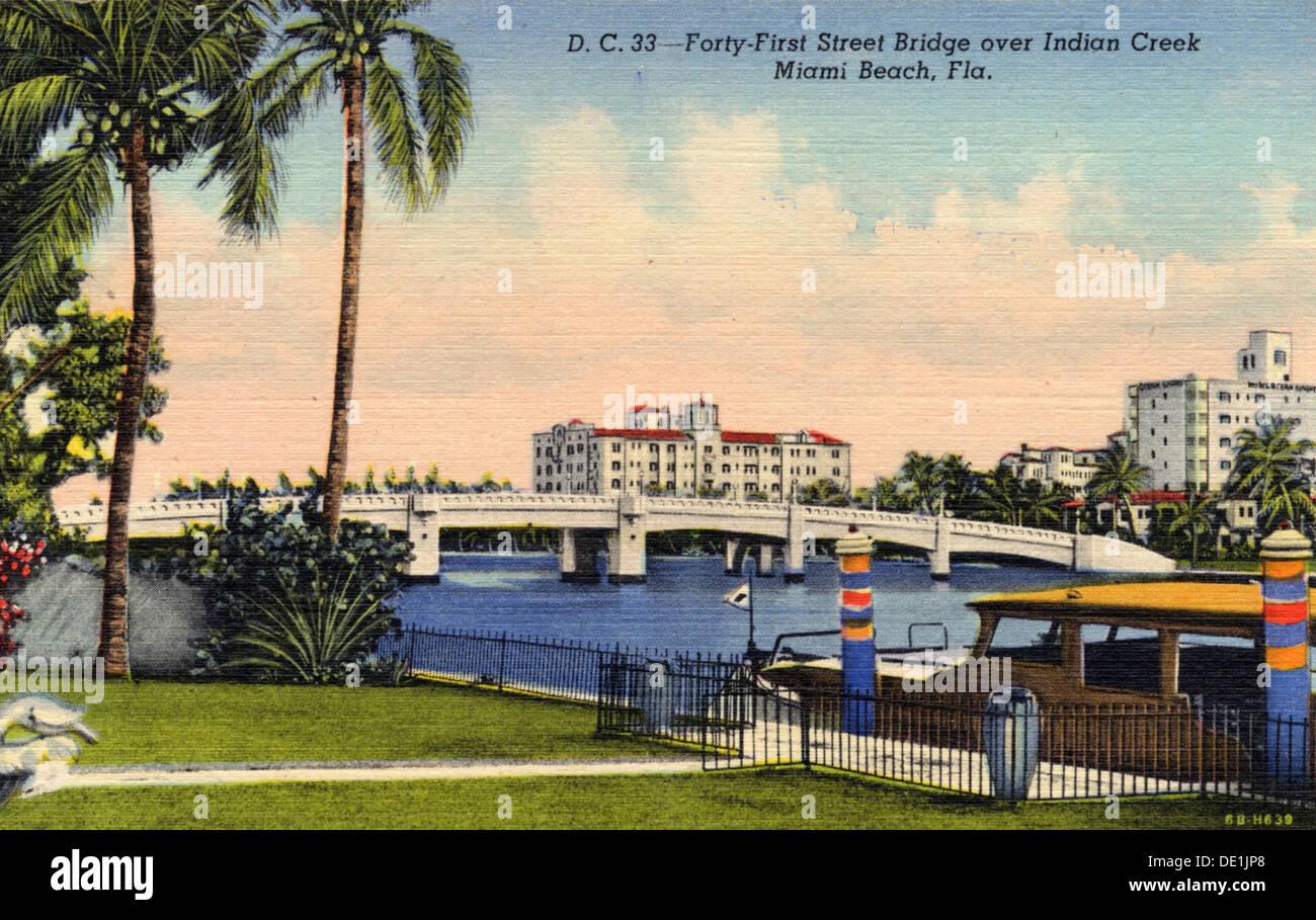 41St Street Brücke über den Indian Creek, Miami Beach, Florida, USA, 1937. Artist: Unbekannt Stockfoto