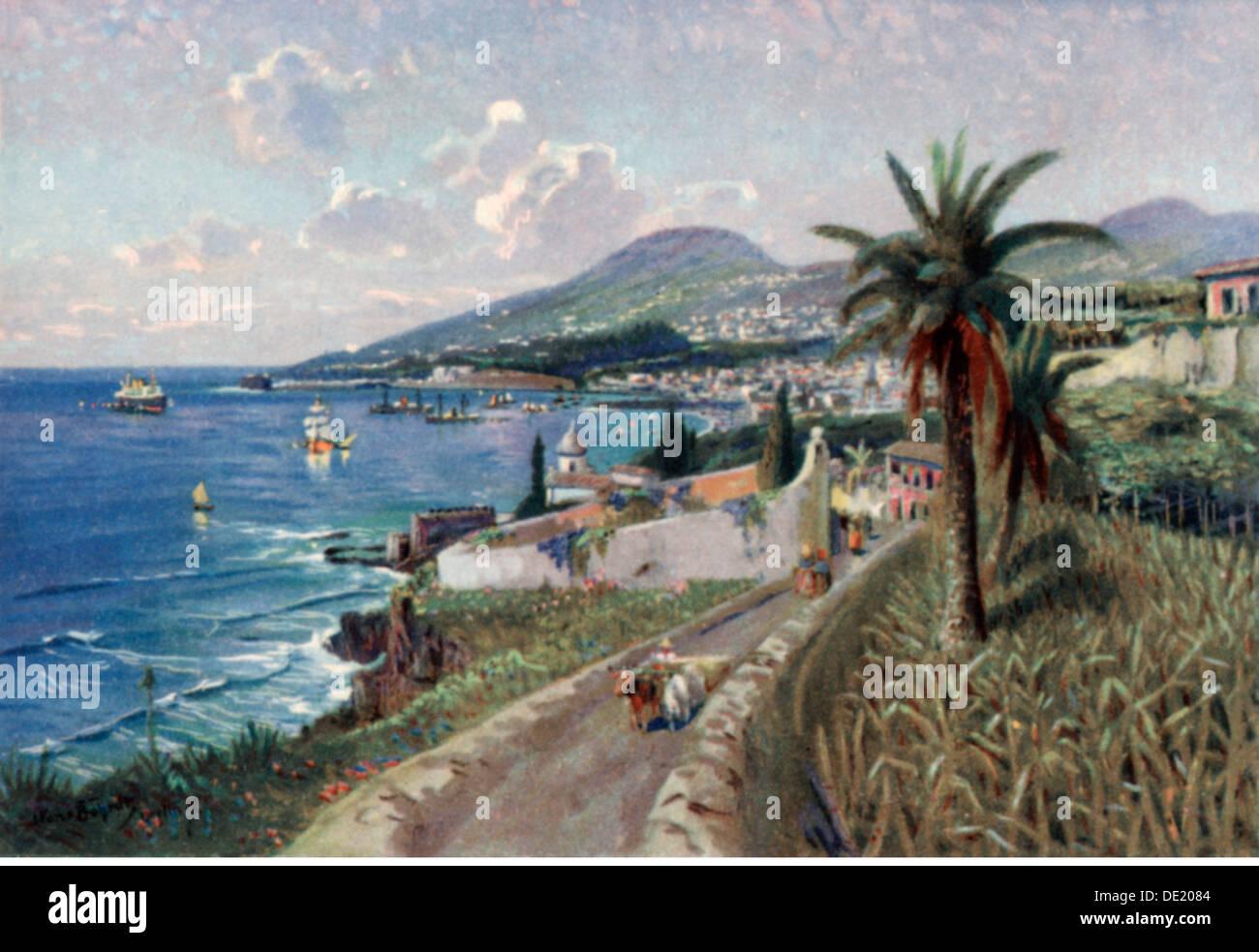 Geographie / Reisen, Portugal, Insel Madeira, Funchal, Ansicht, Kunstpostkarte, 1920er Jahre, Zusatzrechte-Clearences Stockfoto