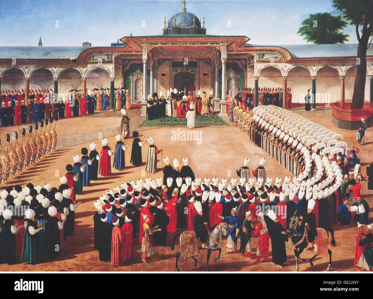 Bildende Kunst, Byzantinische Reich, dem Topkapi Palast, Malerei, Istanbul, Artist's Urheberrecht nicht gelöscht werden Stockbild