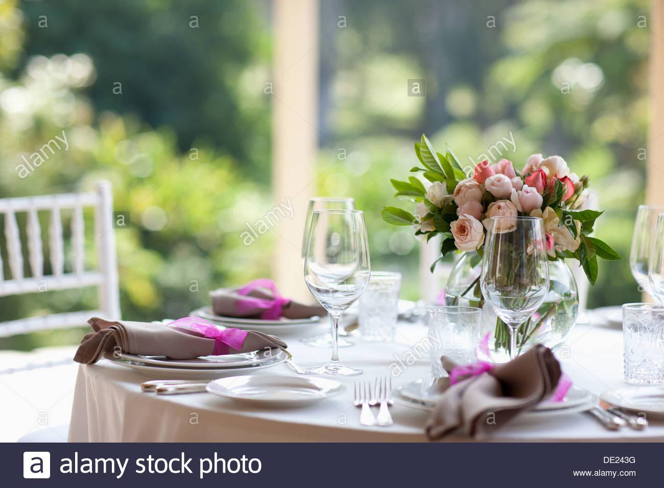 Nahaufnahme von Herzstück bei Hochzeitsfeier Stockbild