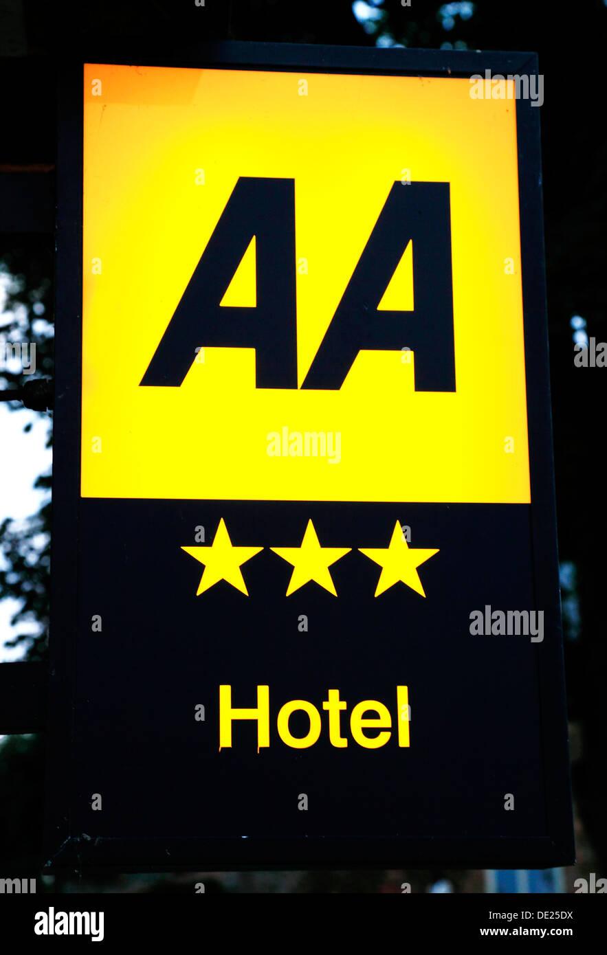 AA 3 Sterne, Sterne Hotel Zeichen Rating UK Stockbild