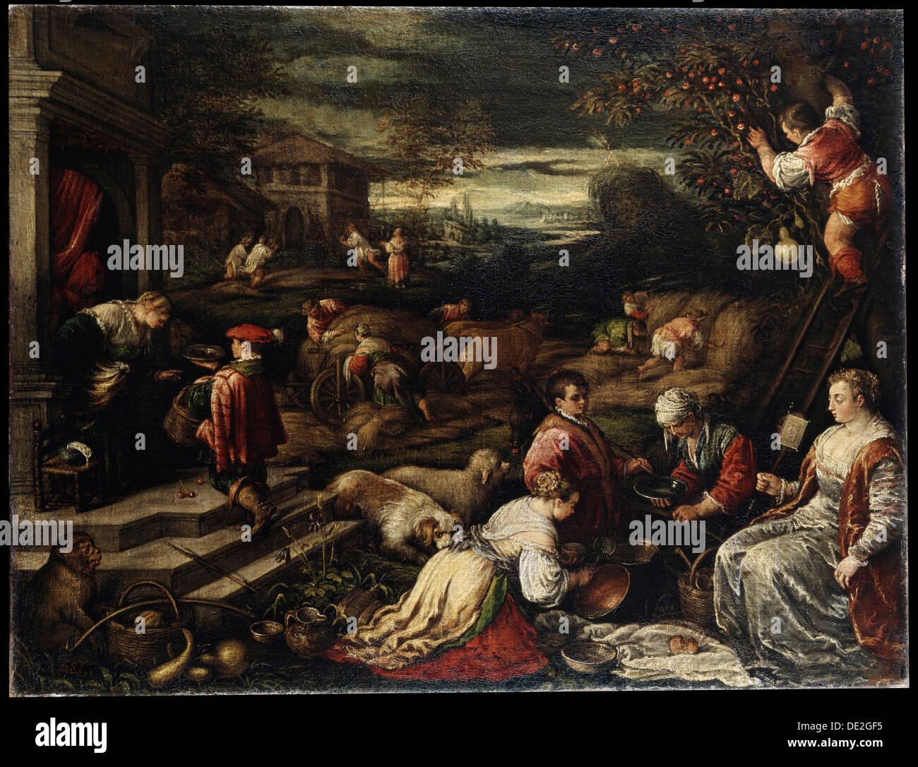 """""""Summer"""", aus dem 16. Jahrhundert. Künstler: Francesco Bassano II Stockbild"""