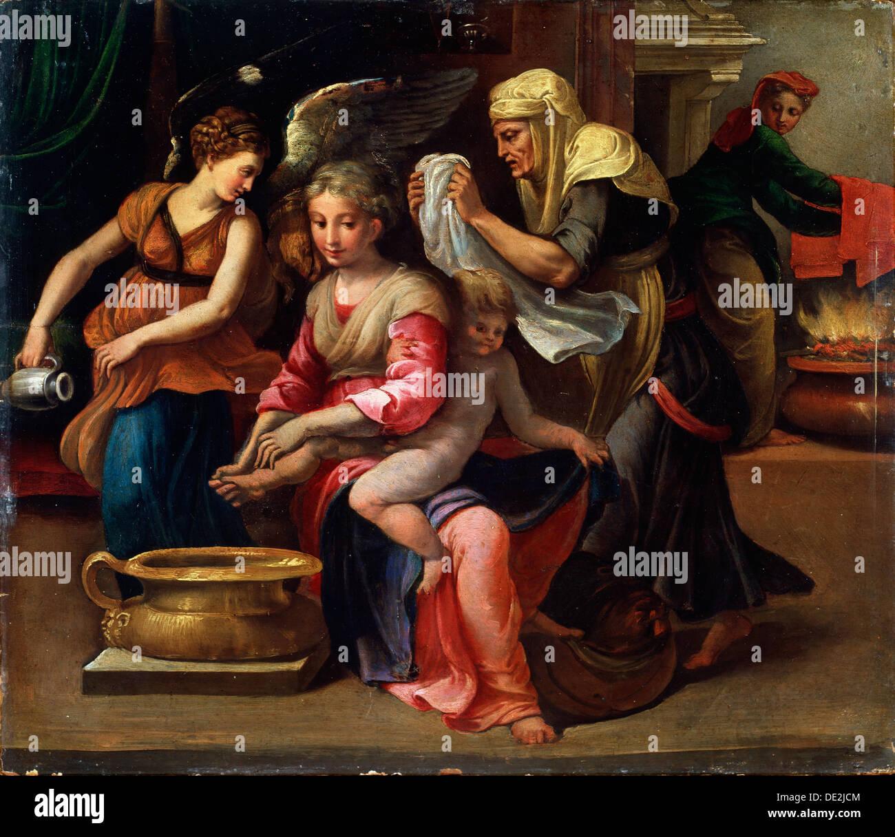 """""""Das Kind Bad"""", aus dem 16. Jahrhundert.  Künstler: Parmigianino Stockbild"""