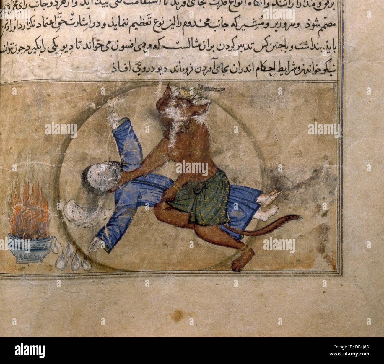 Buchmalerei mit Darstellung der Dämon ein Patient erstickt. Stockbild