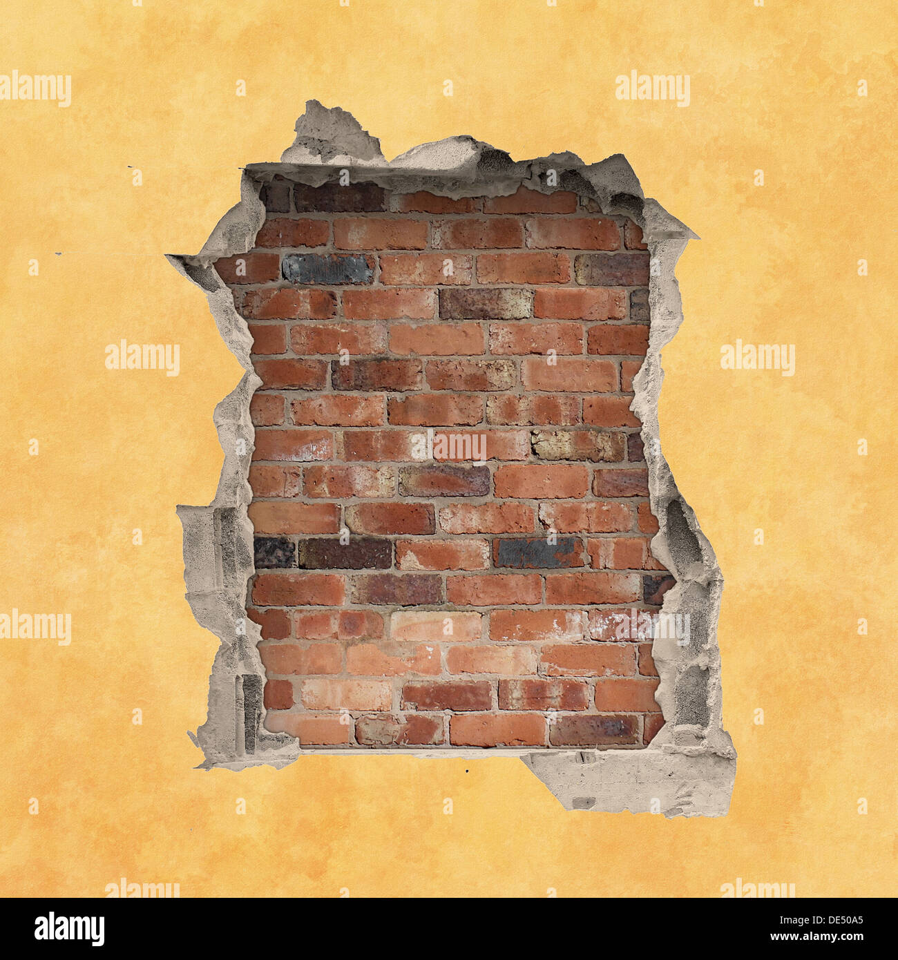 brick wall hole stockfotos brick wall hole bilder alamy. Black Bedroom Furniture Sets. Home Design Ideas