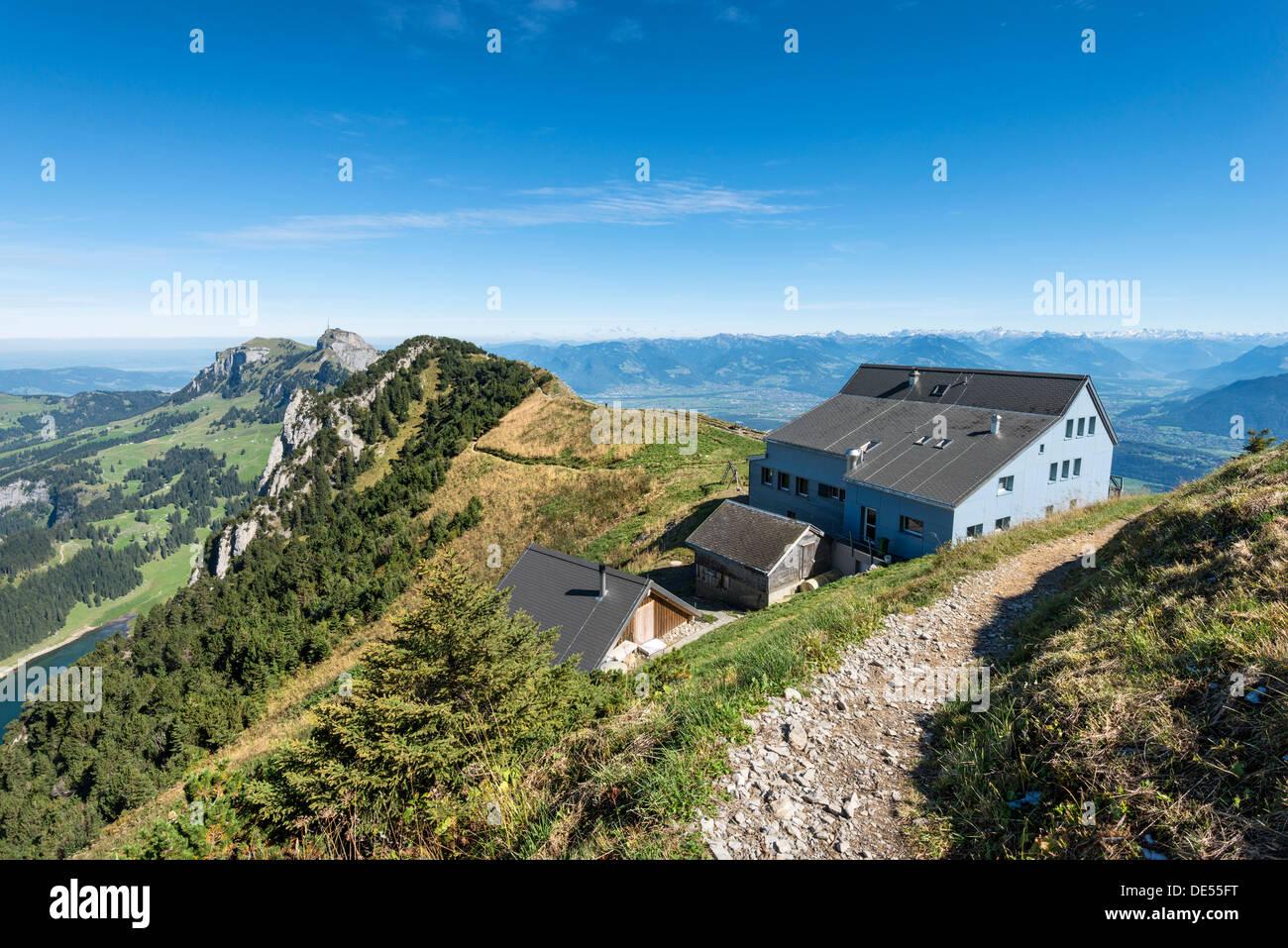 Das Berggasthaus Staubern, 1750m, Kanton Appenzell Inner-Rhodos, Schweiz, Europa Stockbild