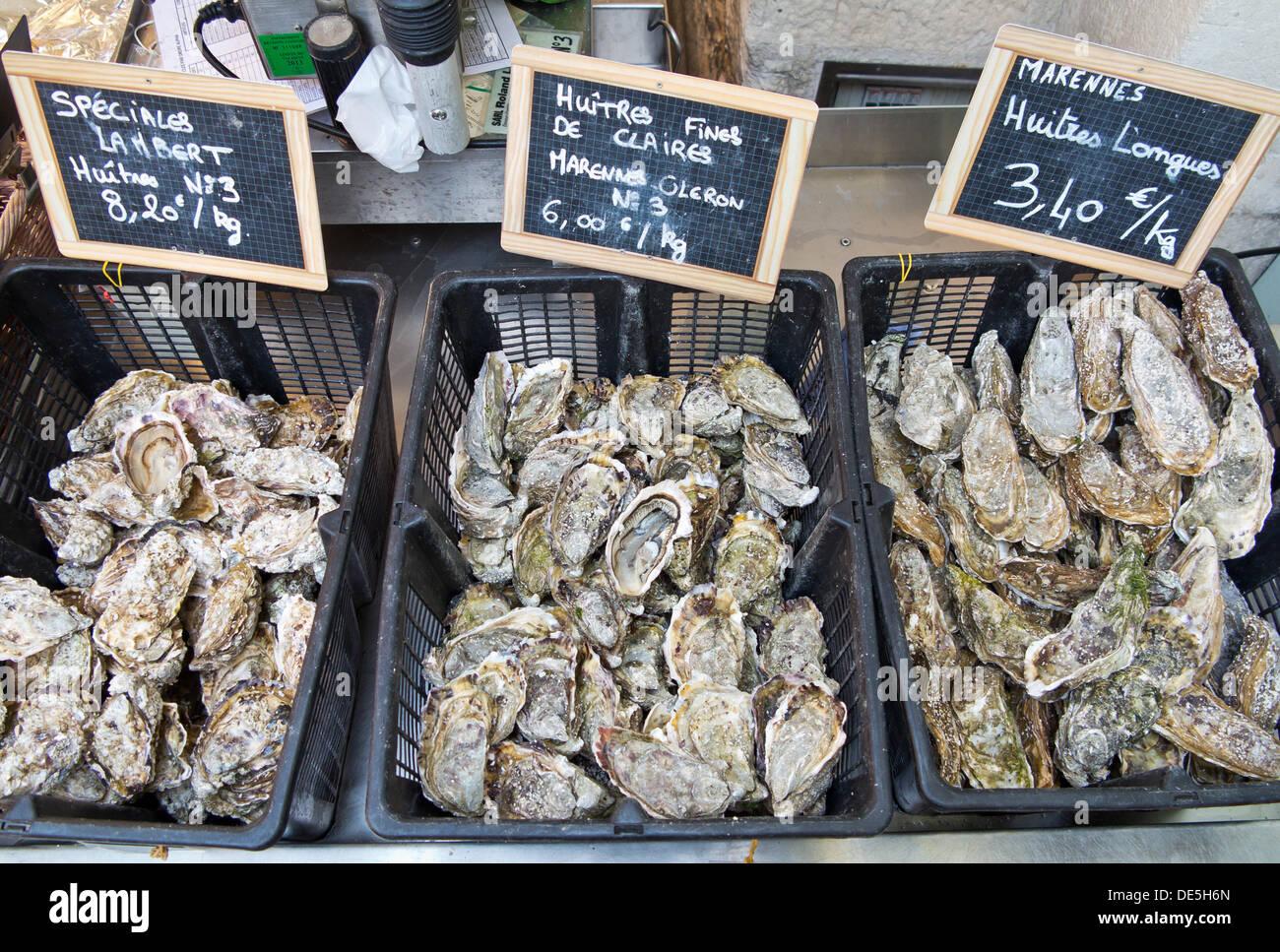 Austern werden in Körben auf eine Verkaufstheke von der Markthalle in La Rochelle, 11. August 2012 liegen. Foto: Daniel Karmann Stockbild