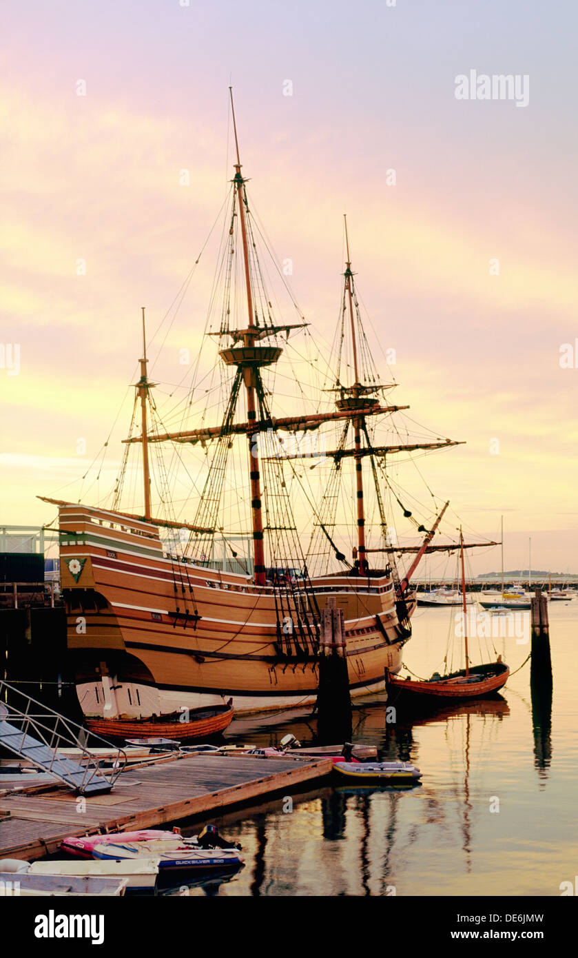 Rekonstruktion der Pilgerväter Segeln Schiff Mayflower in Plymouth, Cape Cod, Massachusetts, Neuengland, USA Stockbild
