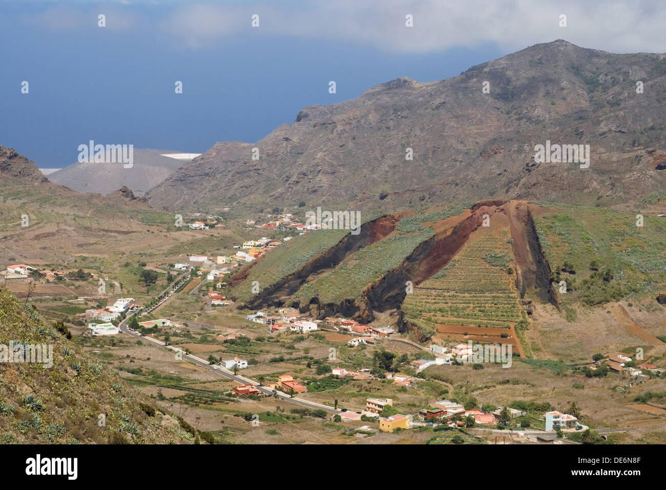 Tal von El Palmar im Teno-Gebirge, Teneriffa, Kanarische Inseln. Stockbild