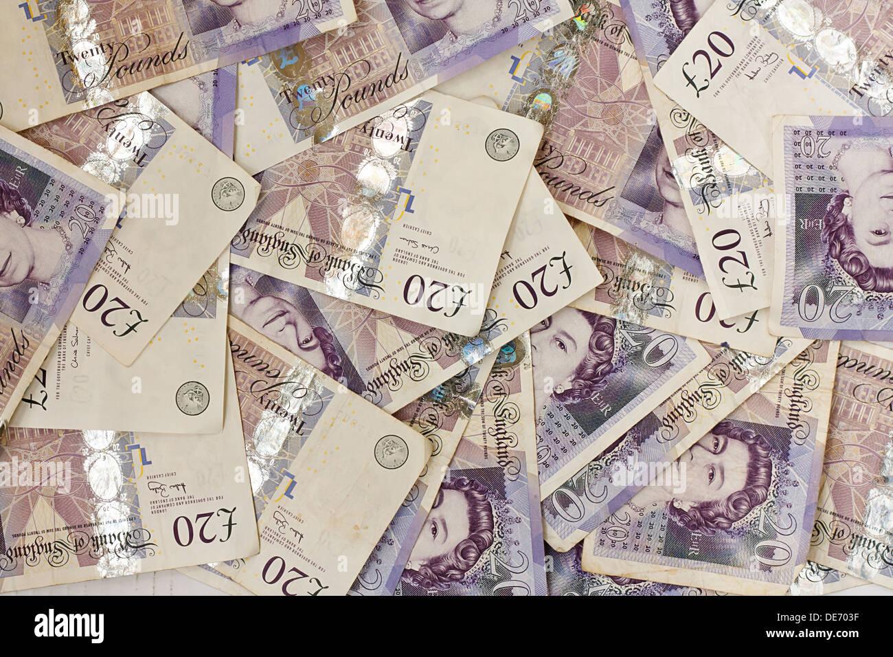Hintergrund der englischen zwanzig Pfund-Noten Stockfoto