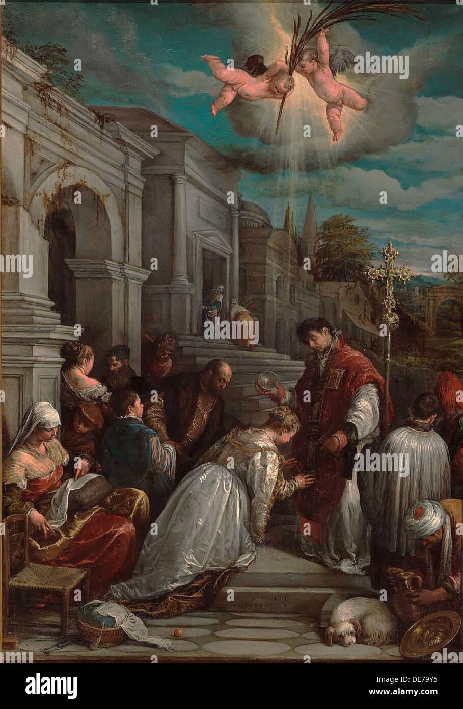 Saint Valentine Saint Lucilla, 1575 zu taufen. Künstler: Bassano, Jacopo, il Vecchio (ca. 1510-1592) Stockbild