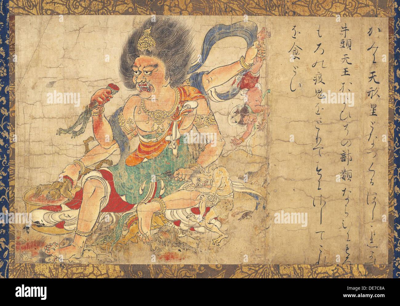 Tenkeisei, der himmlische Strafe Gottes (Teil des Satzes von fünf hängende Schriftrollen Vernichtung des Bösen), 12. Jahrhundert. Künstler: Ano Stockbild