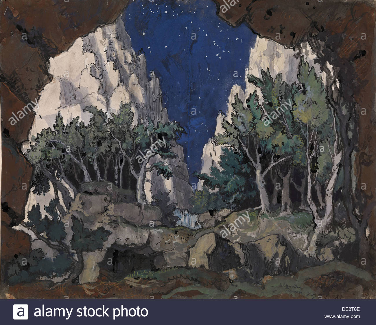 Bühnenbild für die Oper Alcina von George Frideric Handel, 1931. Künstler: Benois, Alexander Nikolajewitsch (1870-1960) Stockbild