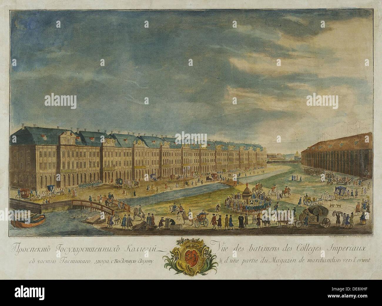 Blick auf die zwölf Collegia Gebäude in Sankt Petersburg, 1753. Künstler: Burjat, Yekim Terentiyevich (1723/25-1762/63) Stockbild