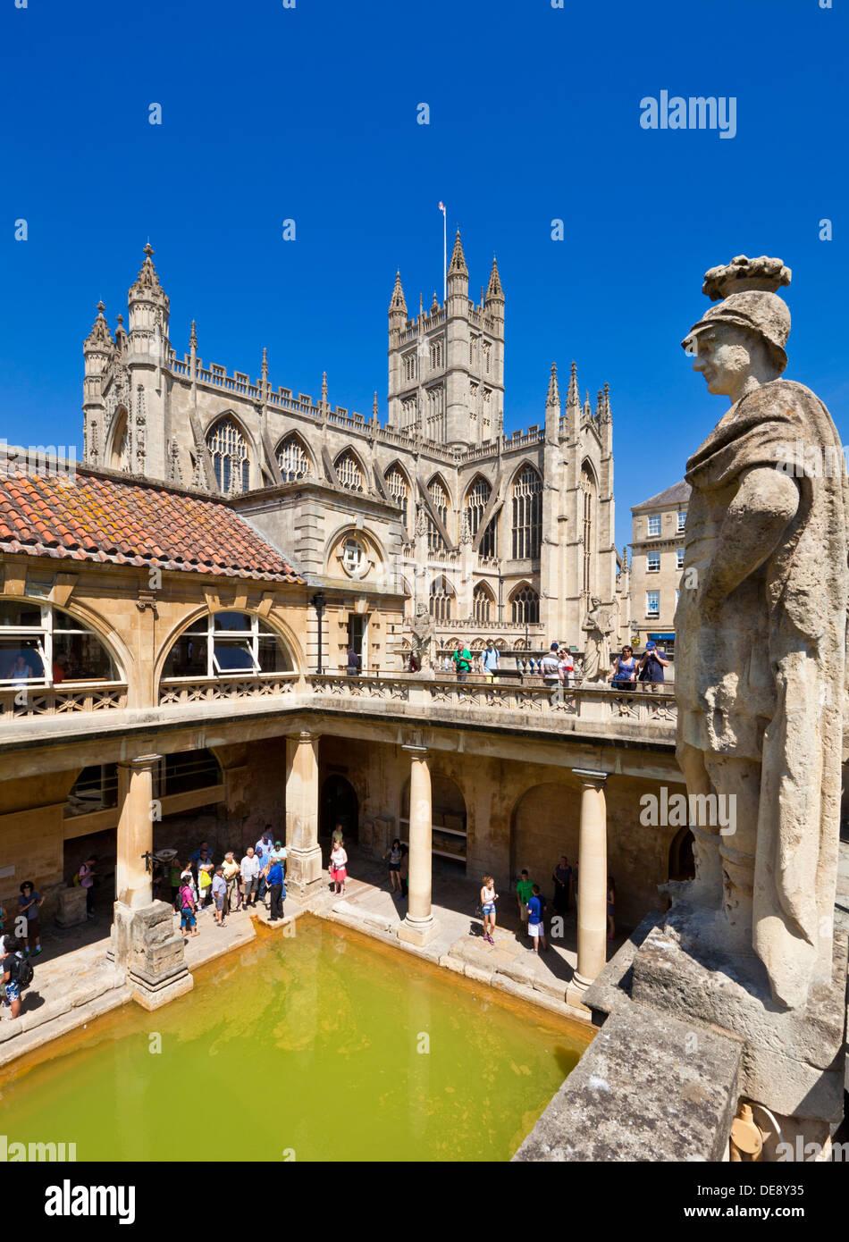Die römischen Bäder, das große Bad, Center nur heißen Quellen im Vereinigten Königreich, Bath City North east Somerset England UK GB EU Europa Stockbild