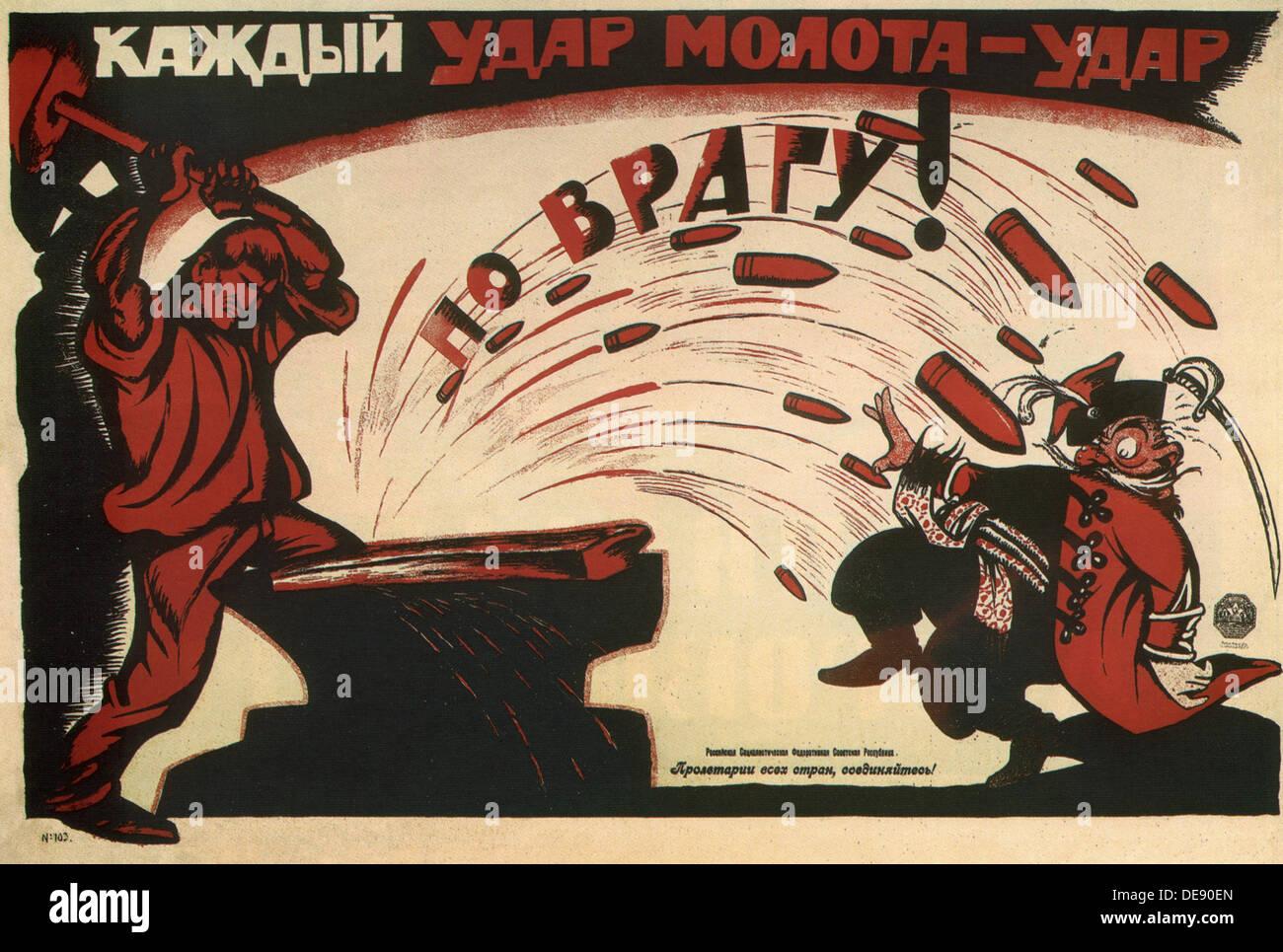 Jeder Hammerschlag ist ein Schlag gegen den Feind! (Poster), 1920. Künstler: Deni (Denissow), Wiktor Nikolajewitsch (1893-1946) Stockbild