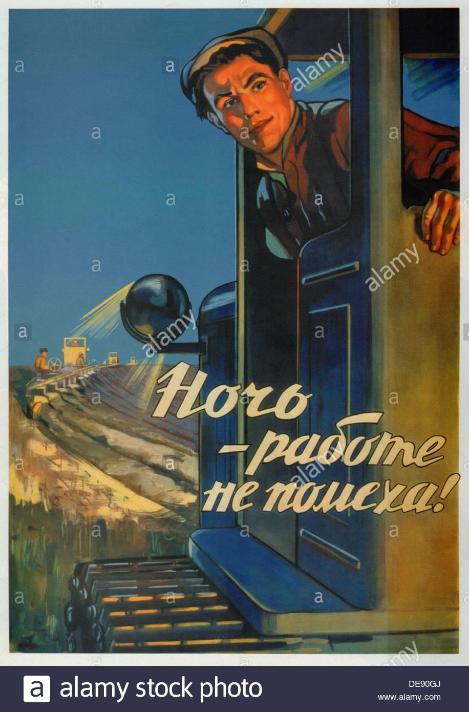 Nacht ist kein Hindernis zu arbeiten!, 1956. Künstler: Dobrov, Alexander Nikolajewitsch (1924-1989) Stockbild