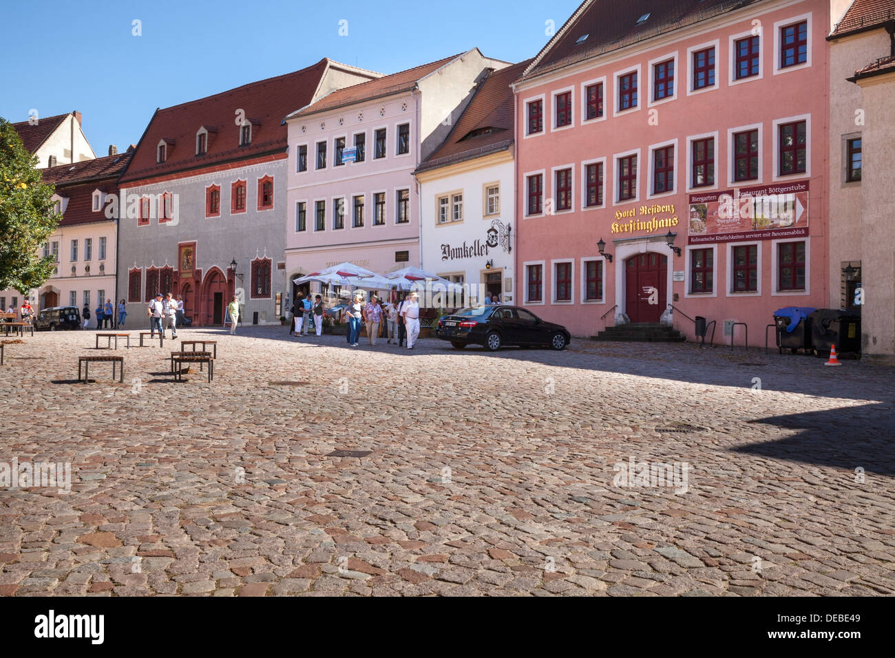 Domplatz, Altstadt, Meissen, Sachsen, Deutschland Stockbild