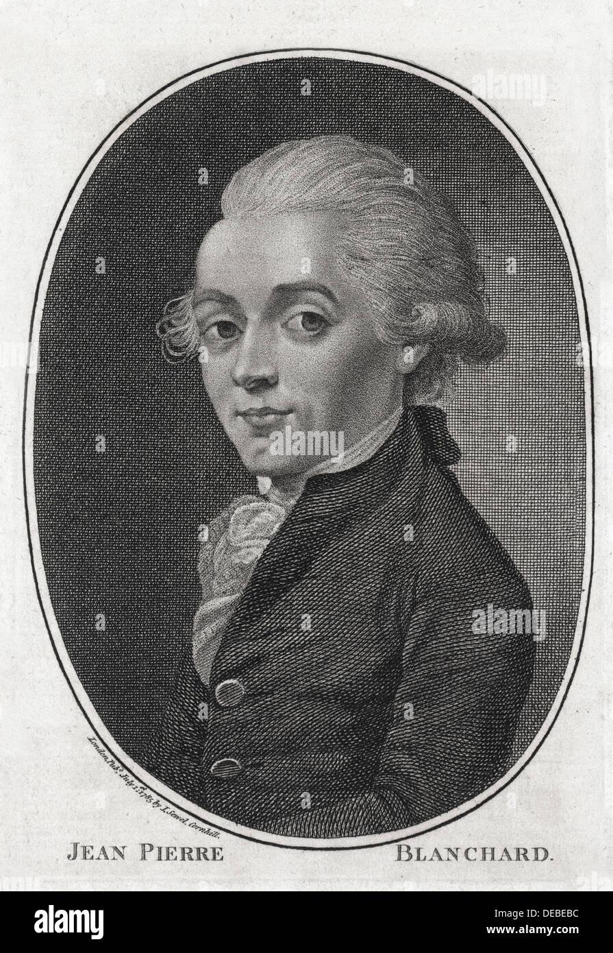 Jean-Pierre Blanchard - französischer Ballonfahrer - Gravur - XVIII Jahrhundert Stockfoto