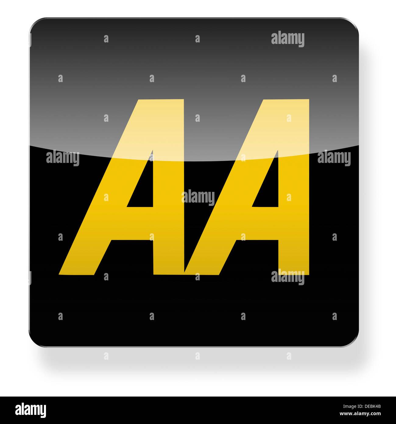 AA Automobile Association Logo als ein app-Symbol. Clipping-Pfad enthalten. Stockbild