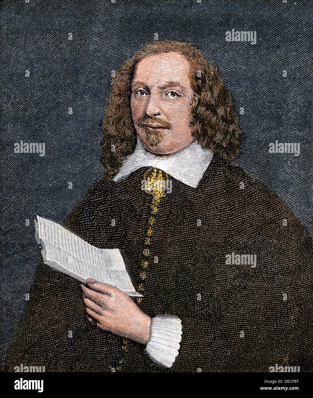 Pilgrim leader Edward Winslow Holding ein Dokument. Hand - farbige Holzschnitt Stockbild