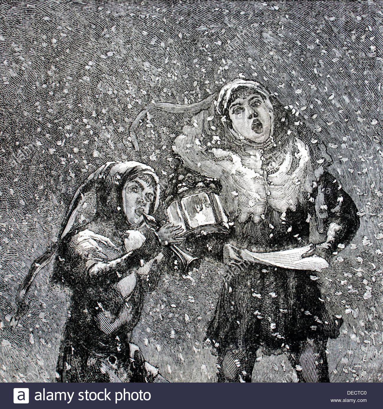 Zwei Kinder, singen von Weihnachtsliedern im Schnee - Antique Gravur ...