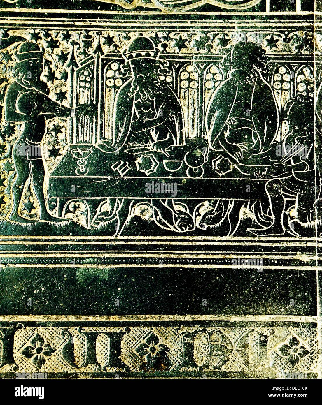 Das Peacock fest für König Edward 3., im Jahre 1349, Detail aus Messing, Robert Braunche, St.-Margarethen Kirche, Kings Lynn Stockbild