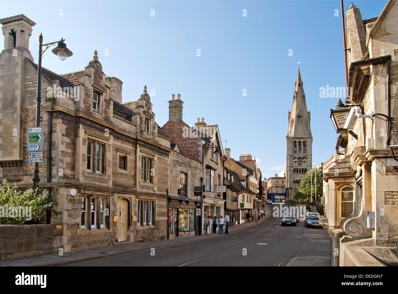 Historischen alten Stadt von Stamford, eine alte Stadt liegt etwa 100 Meilen nördlich von London, England. Stockbild