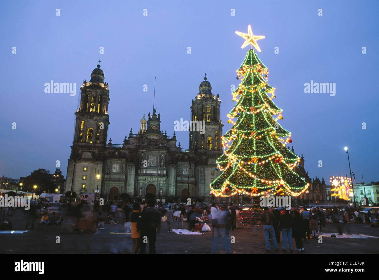 christmas tree in plaza de stockfotos christmas tree in. Black Bedroom Furniture Sets. Home Design Ideas