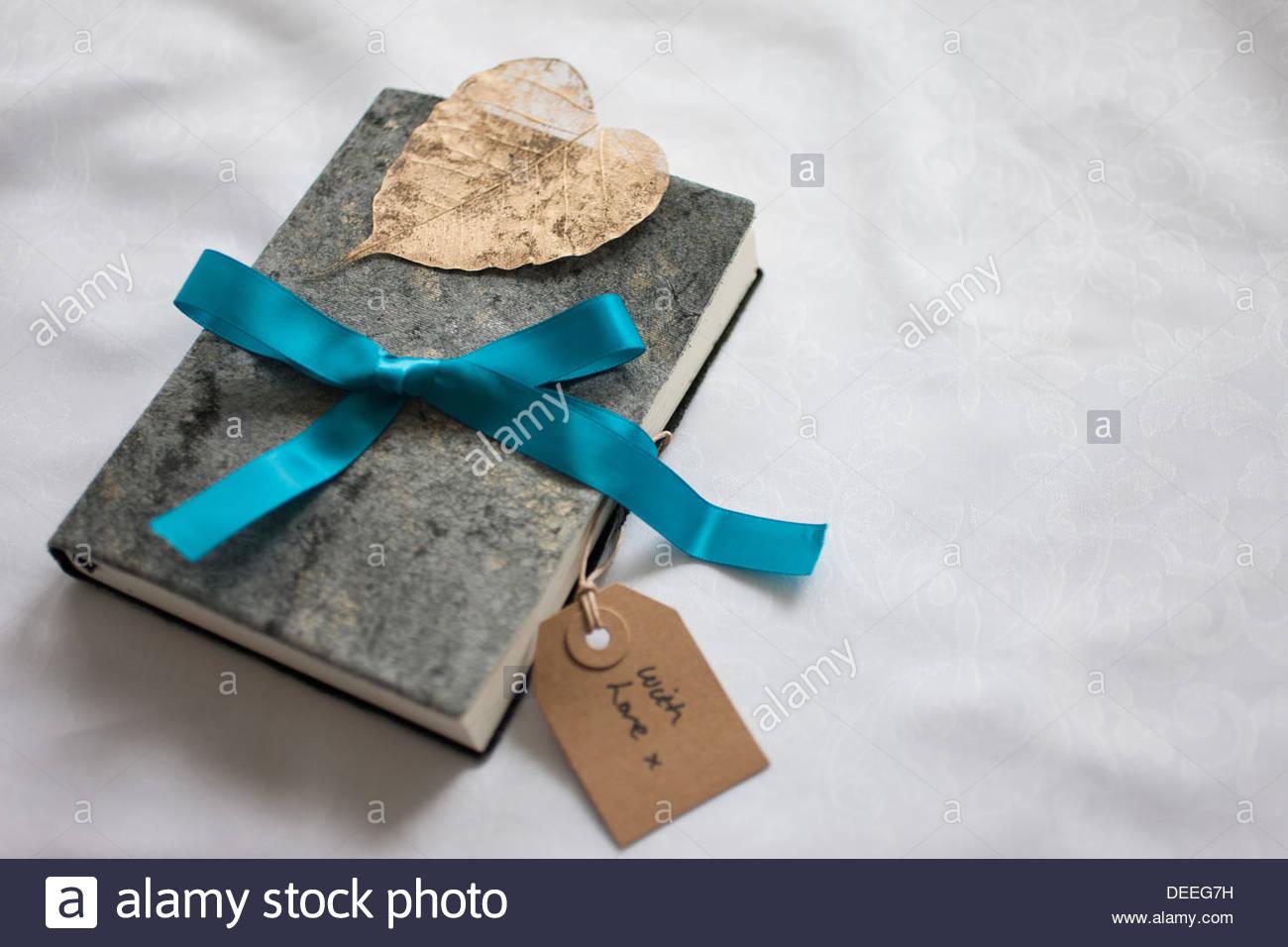 Buch mit Band und Geschenk-Tag gefesselt Nahaufnahme Stockbild