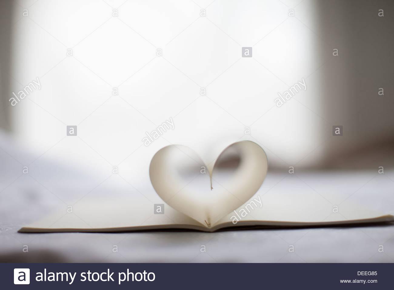 Seiten des Notebook Form Herzform Stockbild