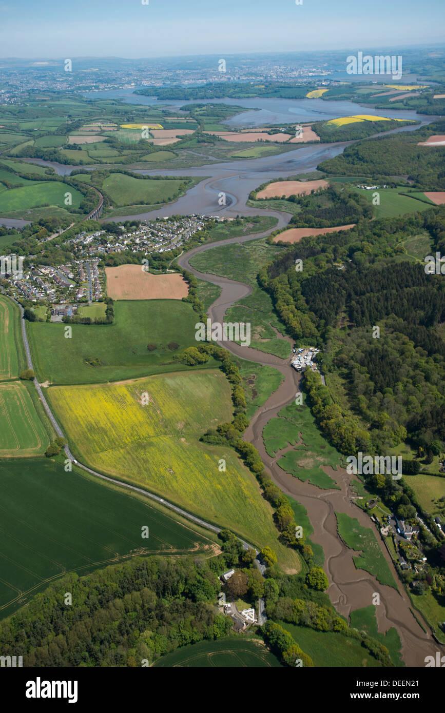St. deutschen Dorf führt zu River Tamar in Plymouth, Devon, England, Vereinigtes Königreich, Europa Stockbild
