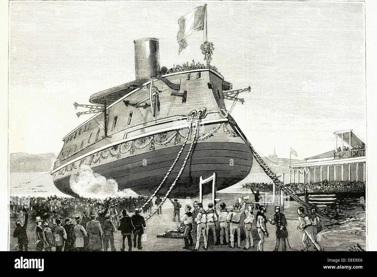 Einführung des französischen Schlachtschiff ´Formidable´. Lorient, Frankreich. Zeichnung aus dem Jahr 1885 Stockbild