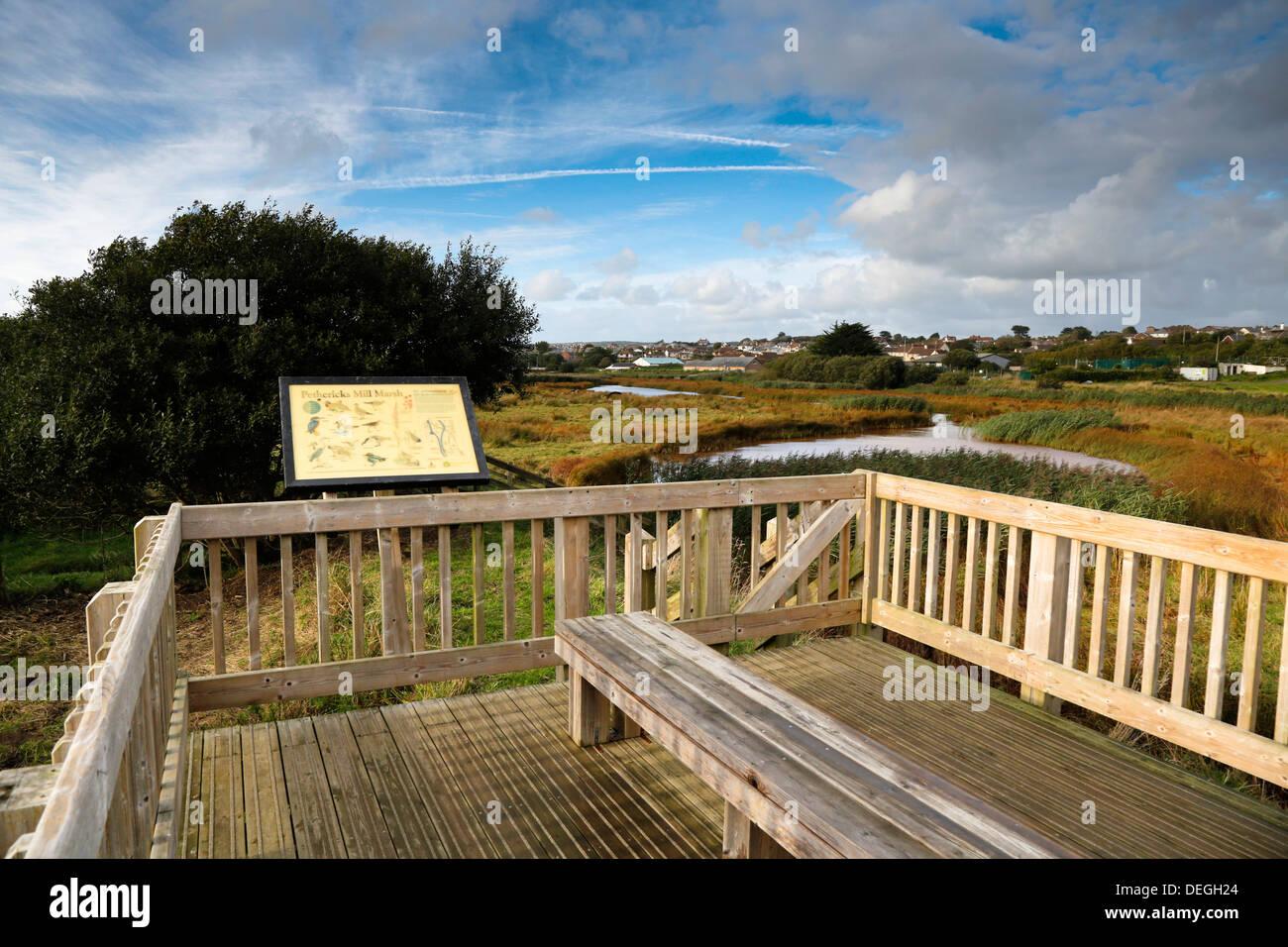 Bude Sümpfen und Kanal; Aussichtspunkt; Cornwall; UK Stockbild