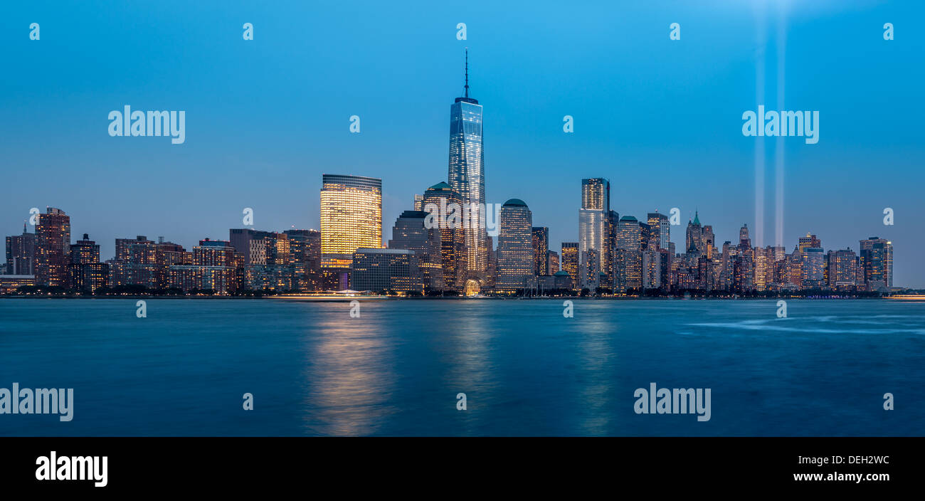 Tribute in Light, 2013 - ein 9/11 memorial Stockbild