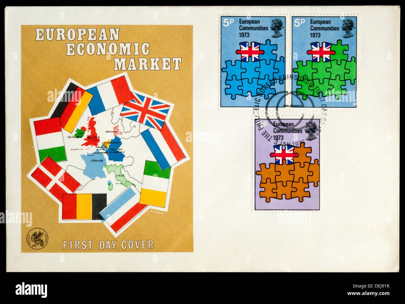 Ersten Tag decken feiert die Europäische Wirtschaftsmarkt. Stockbild