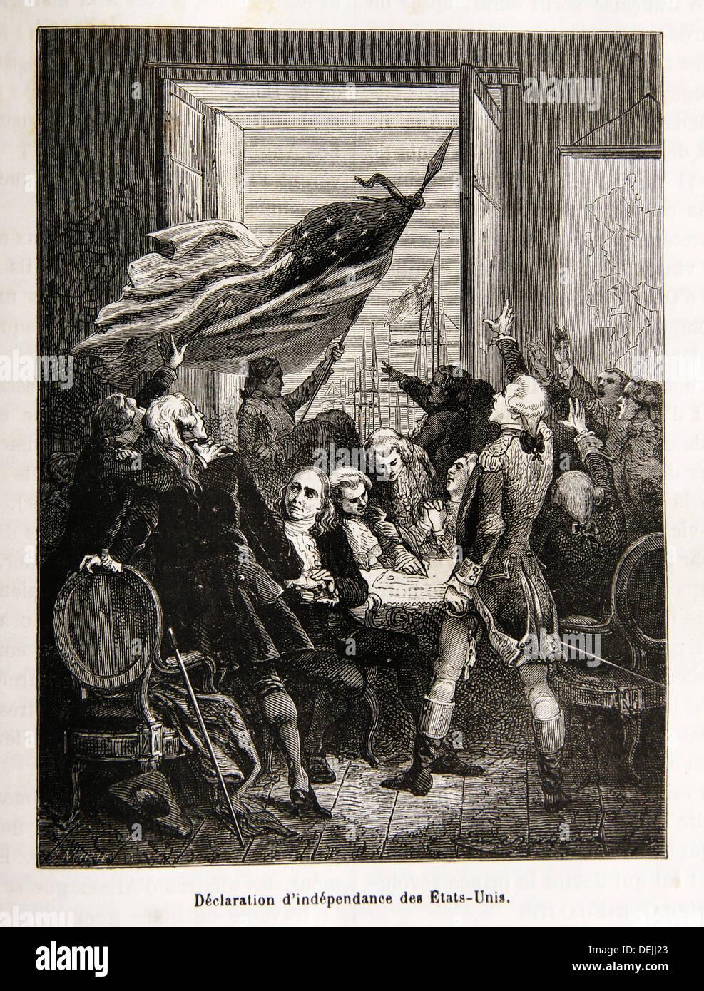 Die Unabhängigkeitserklärung der Vereinigten Staaten ist eine Aussage vom Kontinentalkongress am 4. Juli 1776, die Stockbild