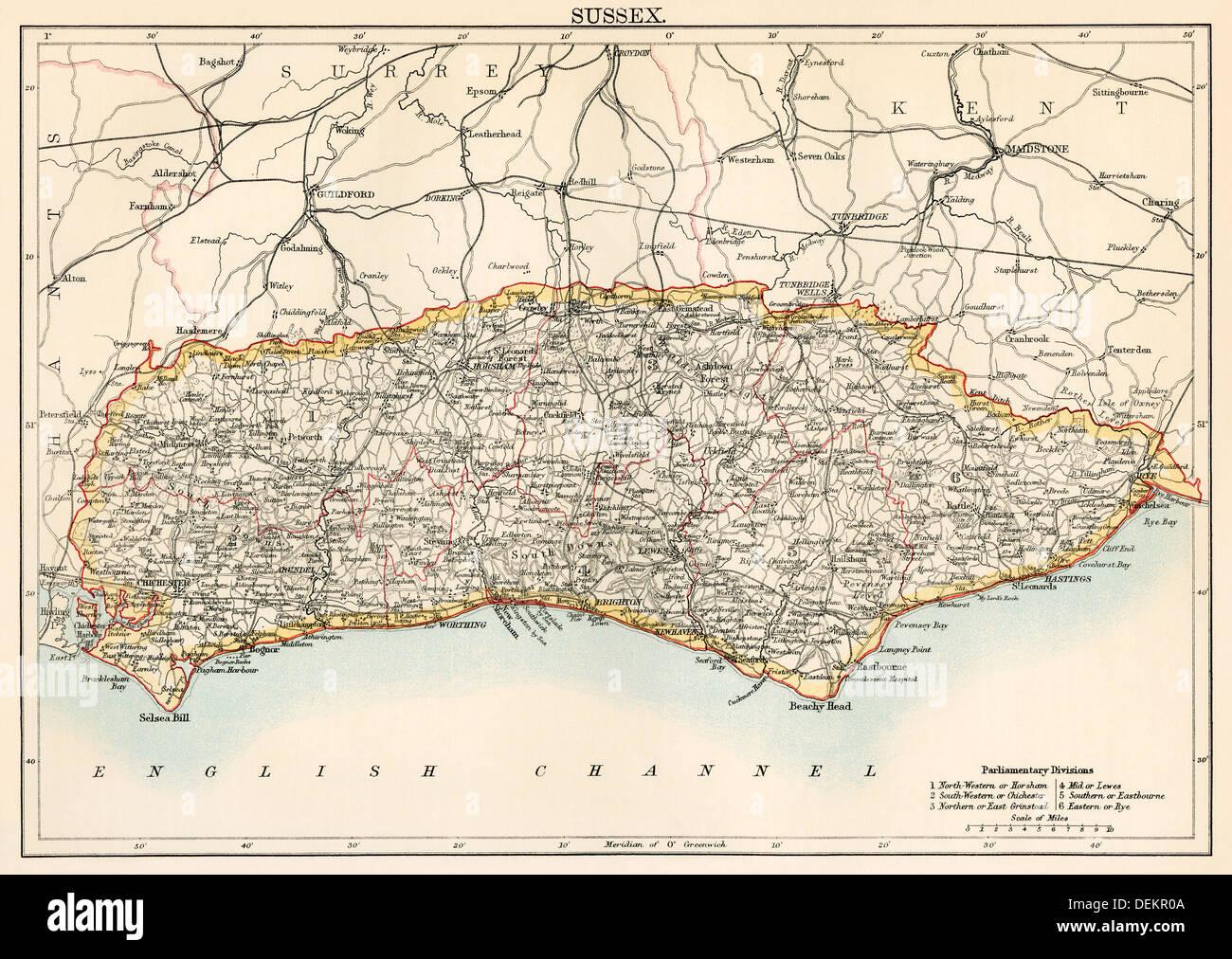 Karte von Sussex, England, 1870. Farblithographie Stockbild