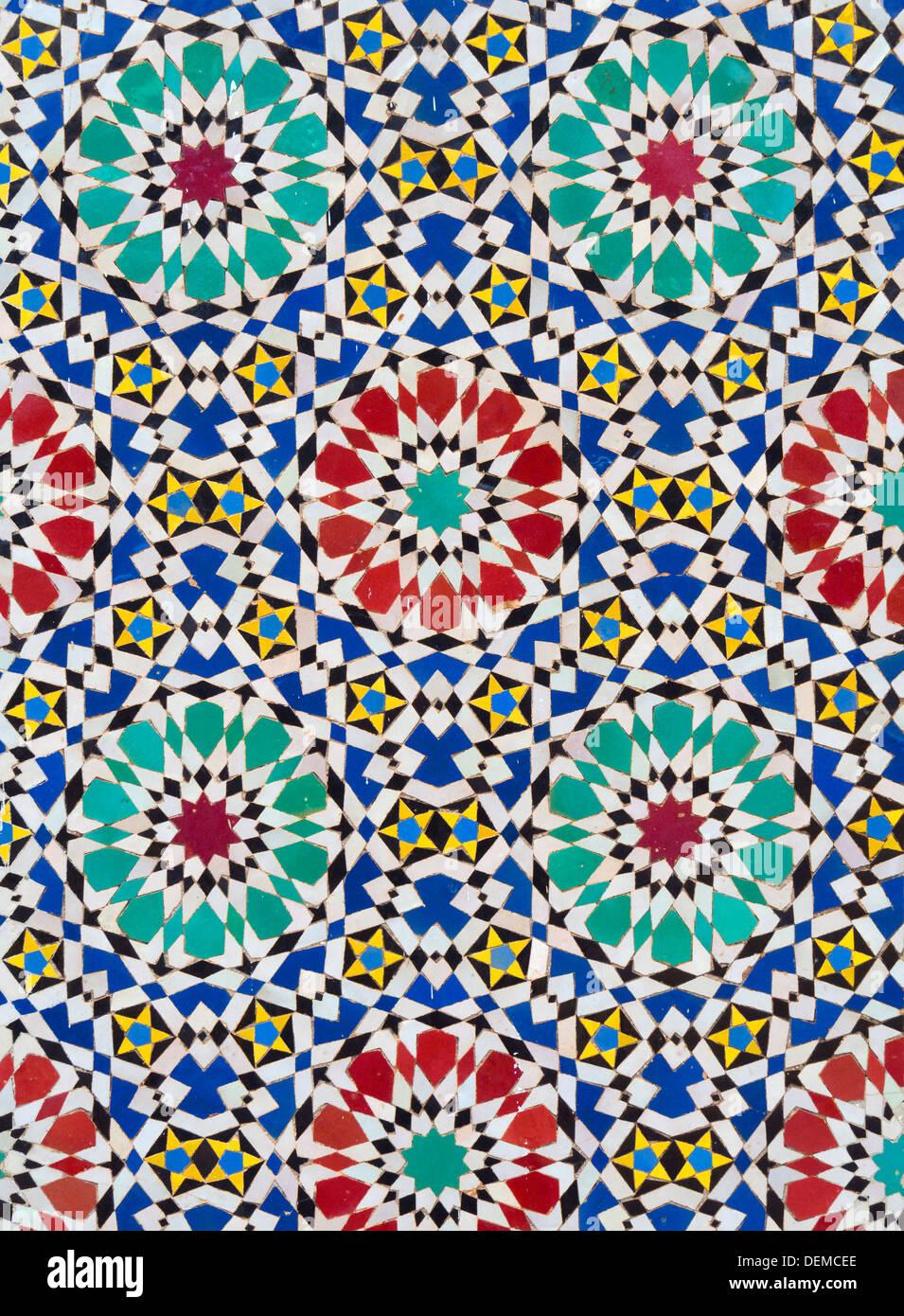 Detail Der Bunten Mosaik Fliesen Im Dar El Makhzen Konigspalast