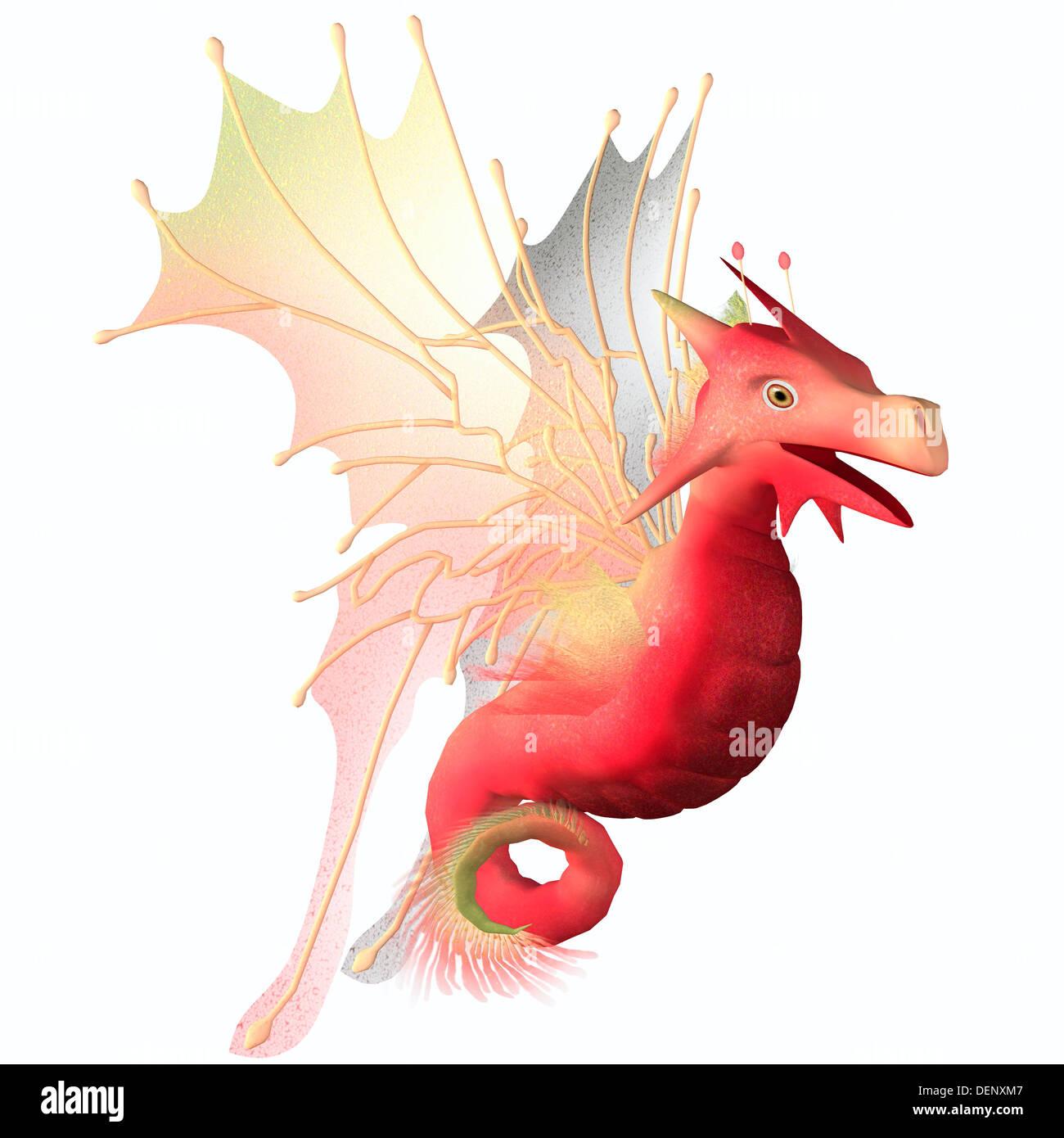 Ein Geschöpf von Mythos und Phantasie der Drache ist ein freundliches Tier mit Hörnern und Flügel. Stockbild