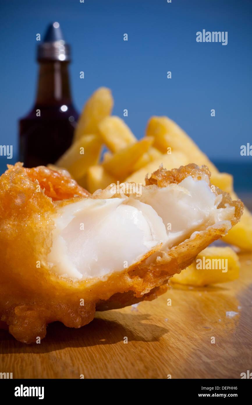 Traditionelle Seite Meeresfrüchte, Fisch und Chips, Nahaufnahme Stockbild